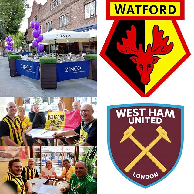 Watford FC take on West Ham United FC this coming Sunday at Vicarage Road Stadium Watford. Come and see us at at Zinco's Restaurant on the Parade and enjoy a truly authentic, delicious Italian meal. Buon Appetito!!! #watford #wfc #thehornets #yellowarmy #watfordfc #westhamunited #whufc #thehammers #premierleague #footballfans #vicarageroad #soccer #sports #italianrestaurant #familyrun #authenticitalian #pizzeria #goodfood #sunday #weekend #hertfordshire #westham #london