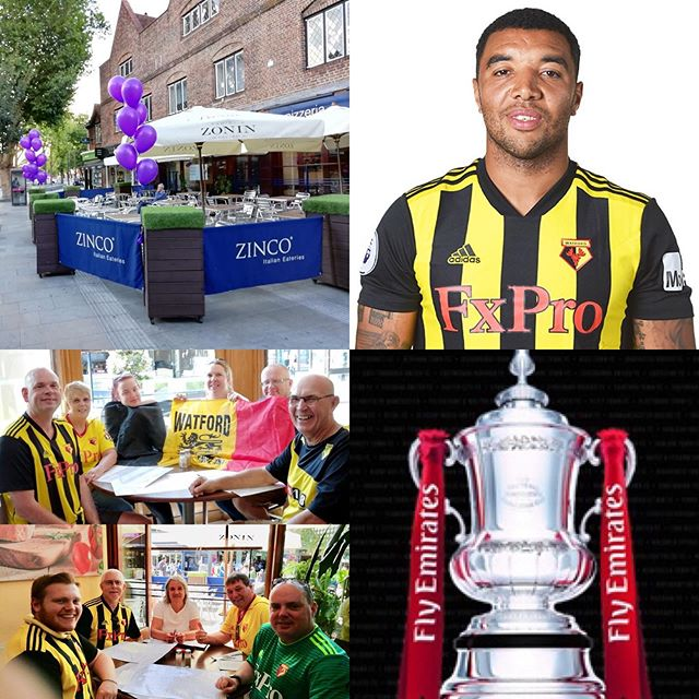 FA Cup Final, Watford FC take on Manchester City FC this Coming Saturday at Wembley Stadium!! Come and see us at Zinco's on the Parade and enjoy a truly authentic, delicious Italian meal, before or after the game. Bookings are now being taken on Tel. 01923 222888 or on our booking page at www.zincorestaurants.co.uk  Come on Watford!!!! #watford #wfc #watfordfc #troydeeney #facup #wembley #manchestercity #manchester #mcfc #thehornets #skyblues #saturday #football #sports #italianrestaurant #pizzeria #goodfood #italianfood #footballfans #familyrun #authenticitalian
