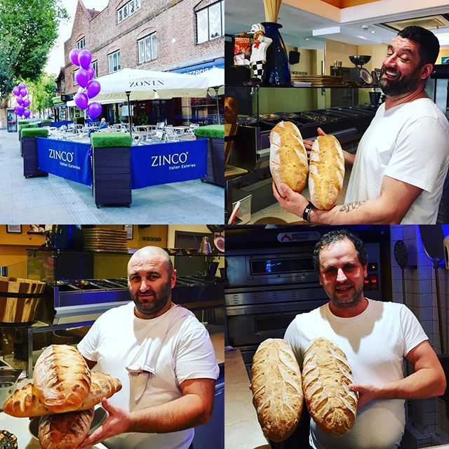 It's the Bake off Zinco Style!!! Who's the master baker, Pasquale, Ionut or Adriano?? Italian style Country bread made fresh in house  twice a day only at Zinco's on The Parade Watford!! #watford #bread #pane #pizzeria #italianrestaurant #masterbakers #fresh #goodfood #familyrun #bakeoff #chefs #pizzaioli #weekend #bankholidayweekend