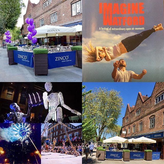 Imagine Watford 2019 is coming this weekend 28-30 June. Come to Zinco's and dine al fresco while being entertained by street performers up and down the Parade!! #imaginewatford #watford #streetperformers #watfordpalacetheatre #watfordbigevents #actors #weekend #freeperformances #alfrescodining #italianrestaurants #pizzeria #goodfood #wfc #events #whatson #fun #show #openair