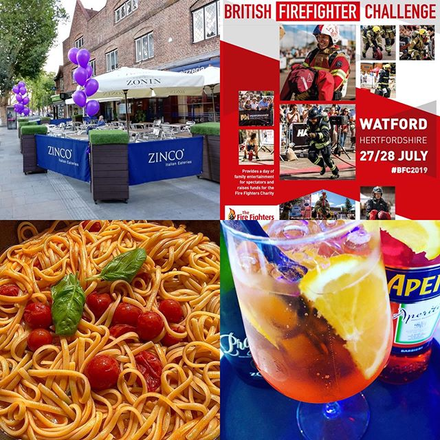 Come and see us this weekend at Zinco's and enjoy a delicious Italian meal all Fresco while watching the amazing fire fighters challenge show on the Parade Watford!! #watford #wfc #italianrestaurant #firefighter #firefighterchallenge #alfrescodining #pizzeria #aperolspritz #goodfood #freeshow #weekend #whatson #watfordbigevents #watfordforyou