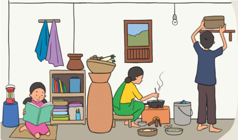 Illustration from Another Option's Peer Guide created for parents and caregivers in Nepal.