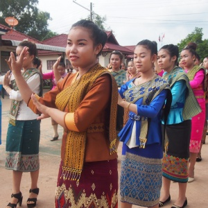 Young Lao Loum girls in their traditional Lao dresses.