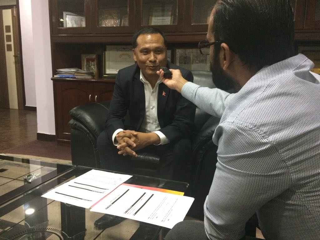 Mr Kul Man Ghising being interviewed by Another Option consultant Prabodh Acharya