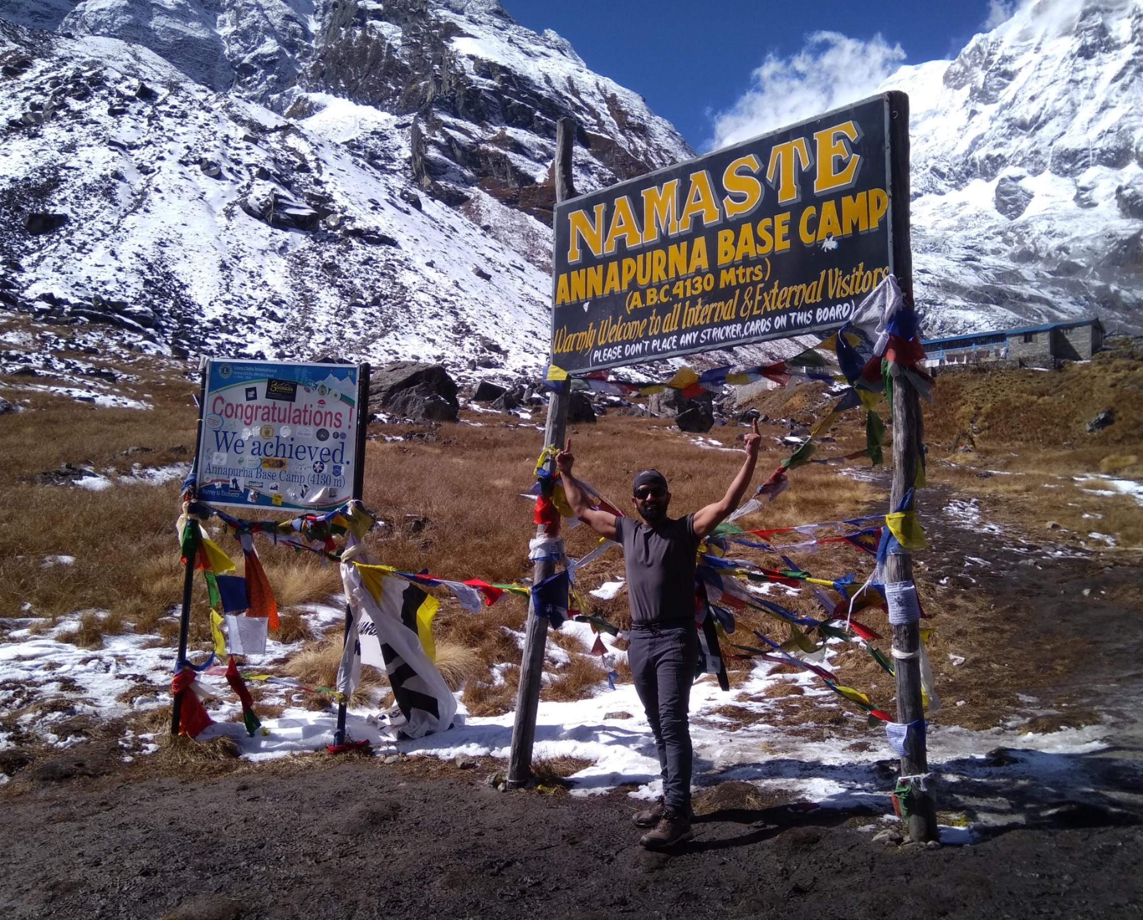 Another Option's Prabodh Acharya at Annapurna Base Camp.