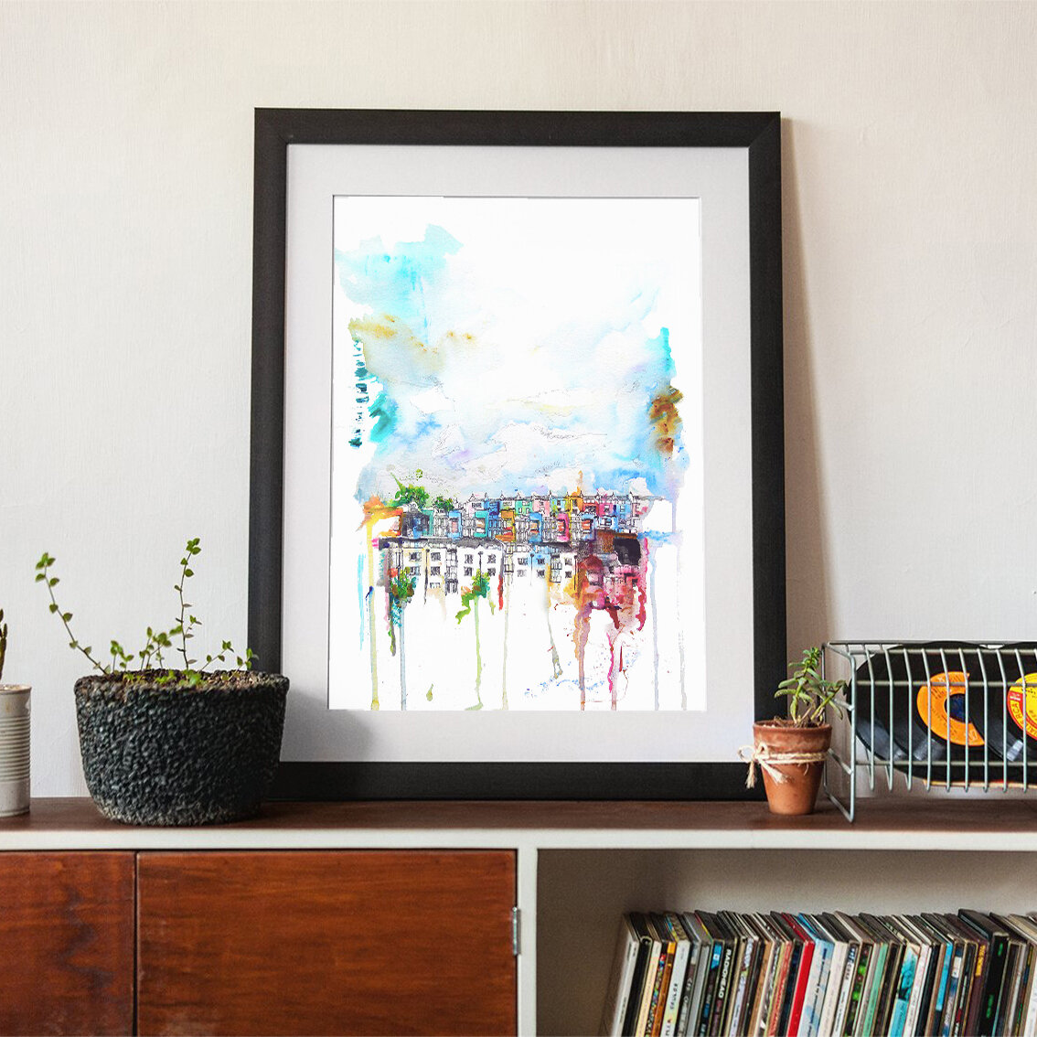 Colourful framed city print by Christopher David Jones