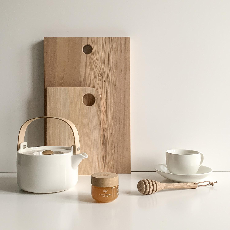 Elegant, wooden, scandi-influenced kitchen accessories by Brüün Design