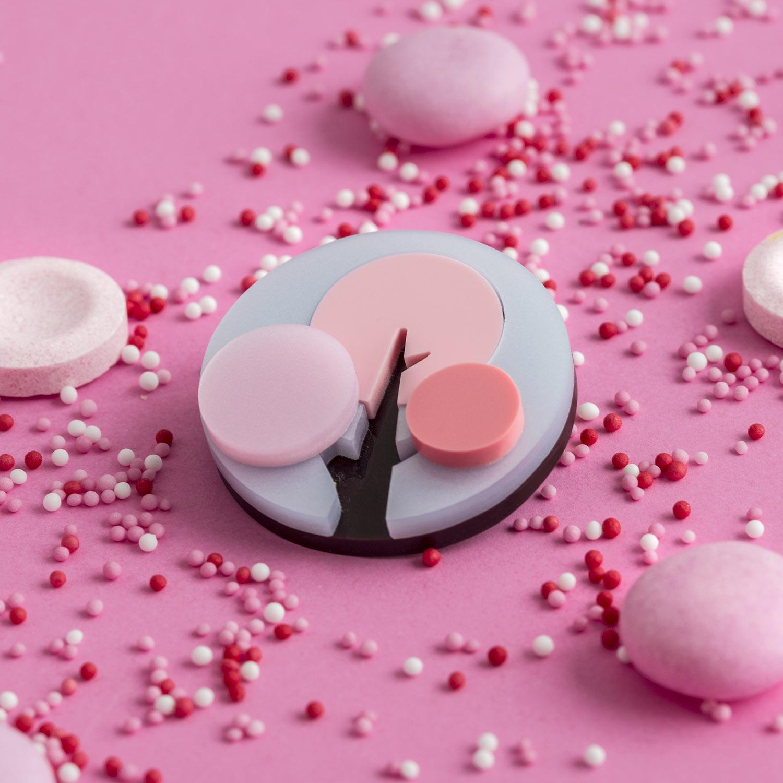 So sweet! Seasonal pink brooch by I Am Acrylic