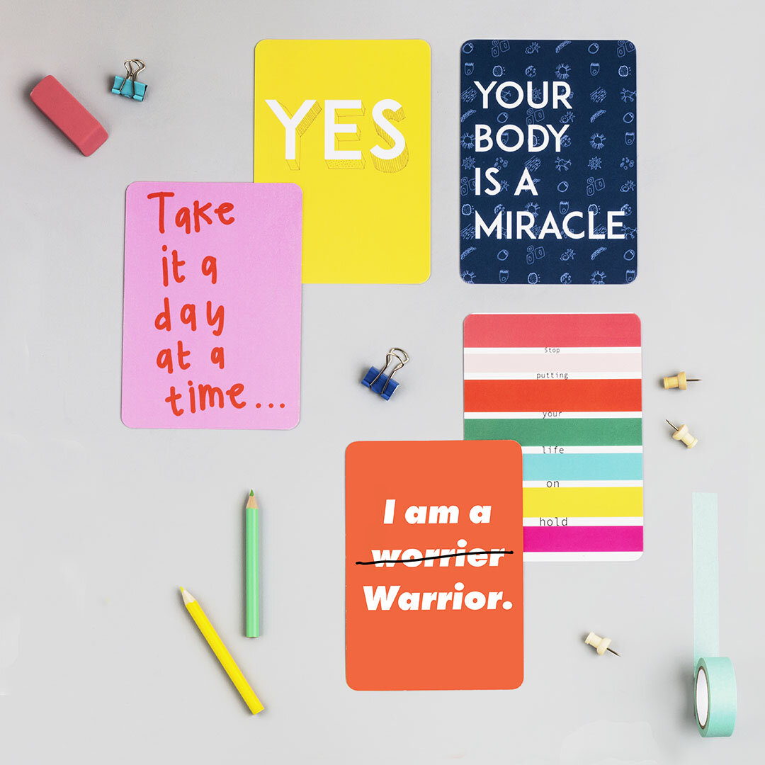 Colourful mini-mantra cards by Hannah Broadway