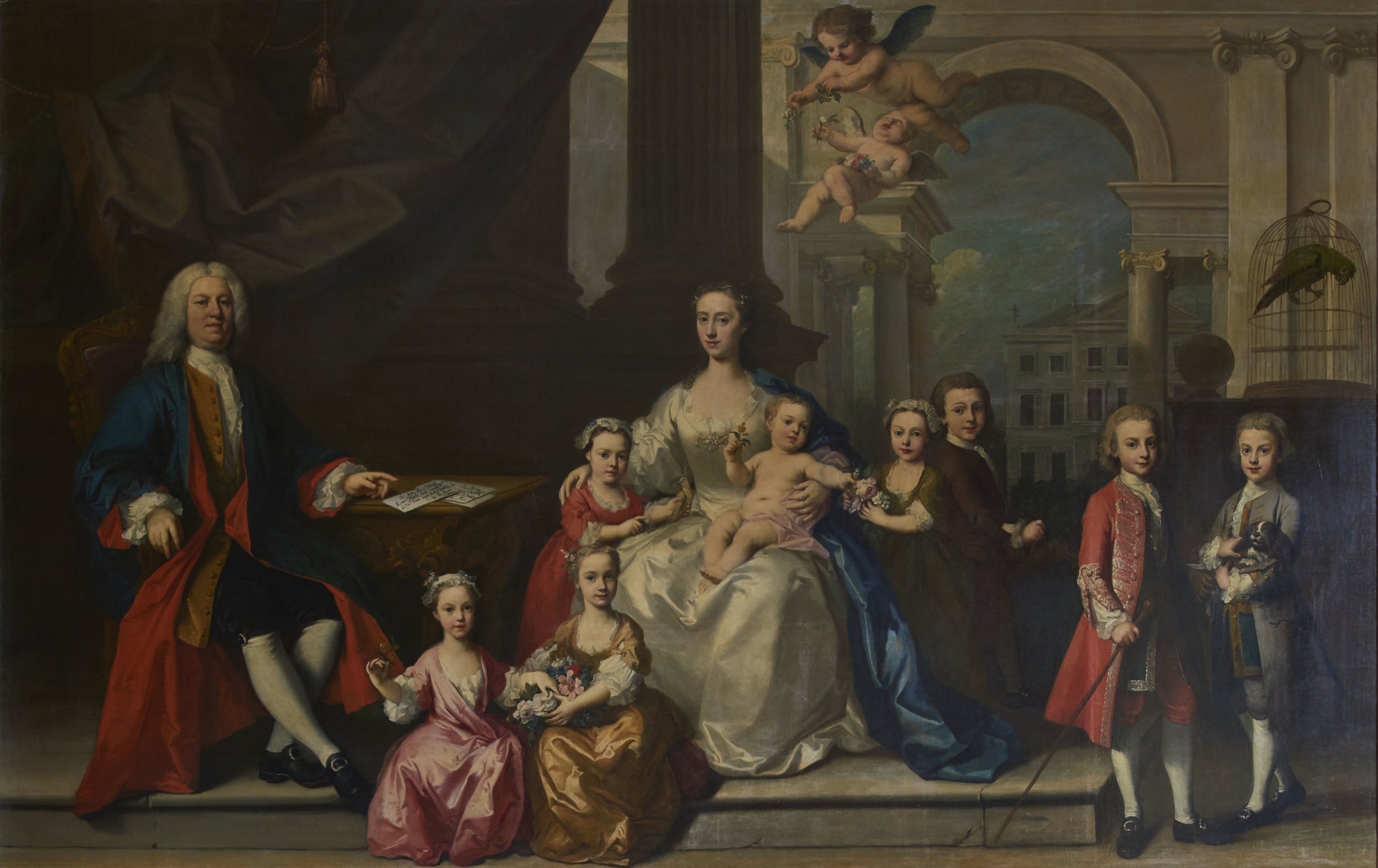 The family portrait by Jacopo Amiconi was cut into seven pieces as, being so huge: a full nine feet wide, it wouldn't fit into any other Walpole house. Now restored,  it's impossible to see the joins. It features Horatio and his wife Mary Magdalen with their eight children. The stillborn infants are represented by cherubs.
