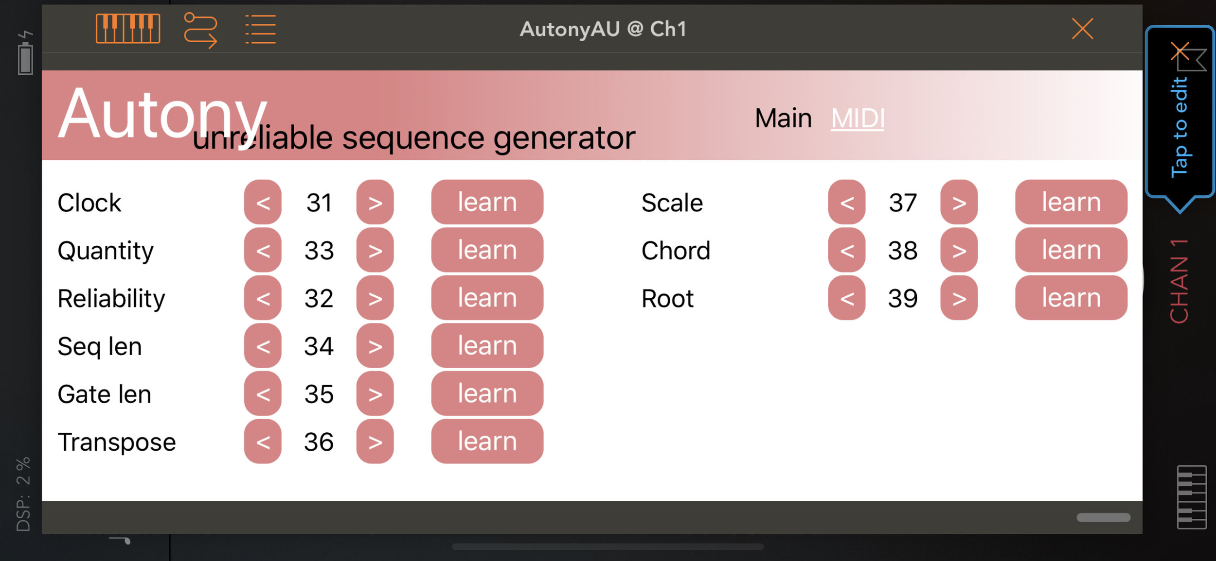Midi Control - Automate or Modulate all the controls via midi for ever evolving sequences