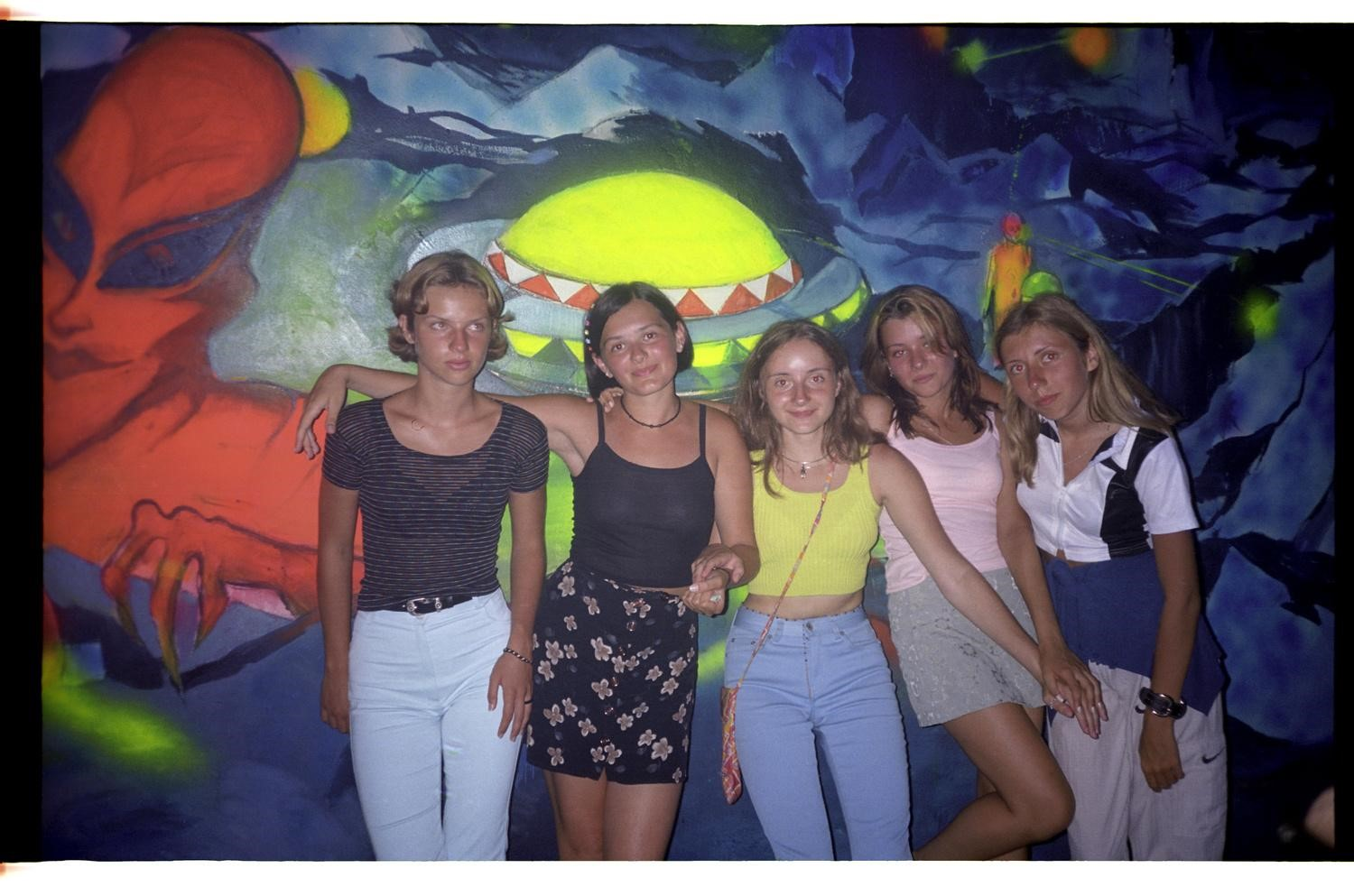 My friends and I (in the middle) at the Horizont Night Club Obzor, Bulgaria 1999