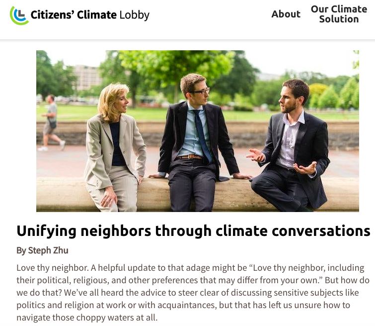 Living Room Conversations (for Citizen's Climate Lobby national blog)