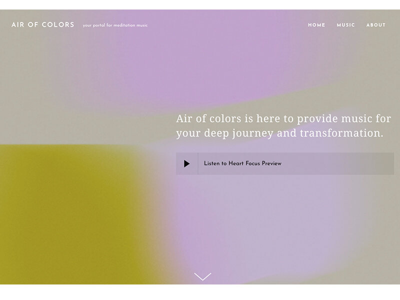 Air of Colors - Branding, Website for a meditation music portal and online shop.