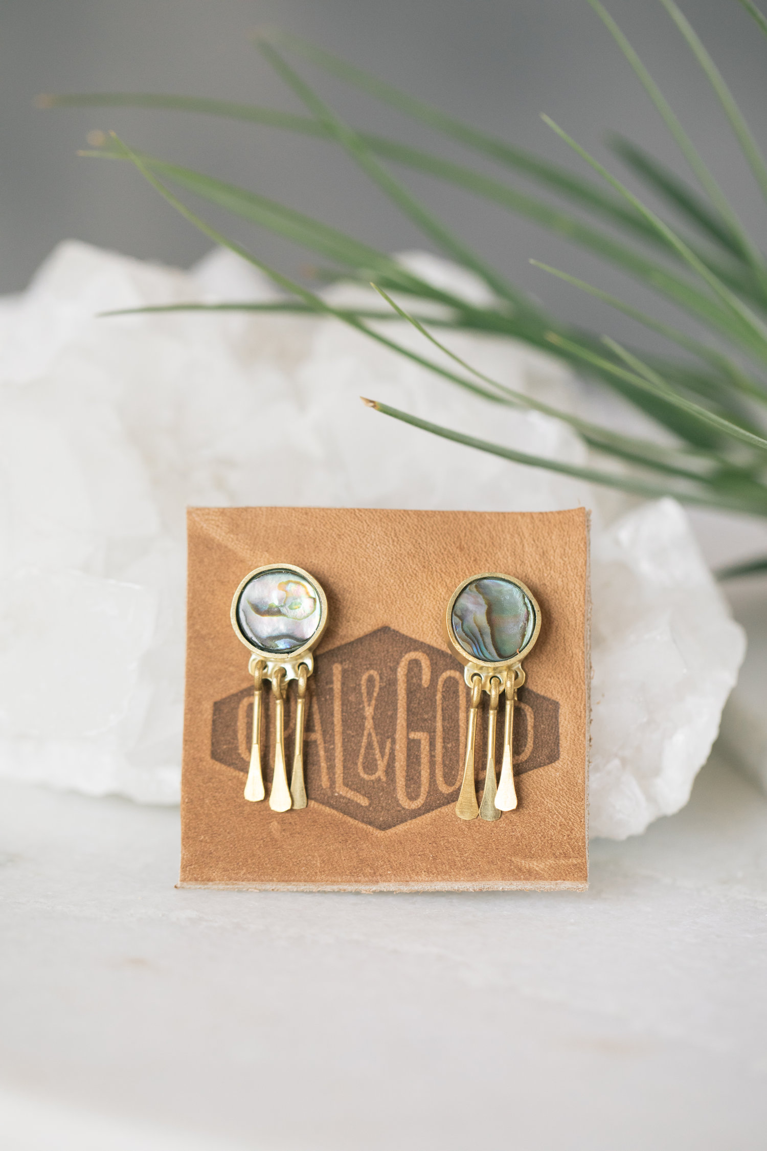 1ce9fb151a6f4 Abalone & Brass Fringe Earrings — OPAL & GOLD