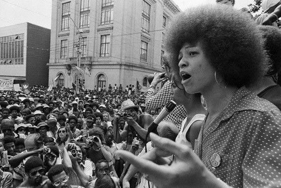 Angela Davis at a political rally in Raleigh, North Carolina, 1974.