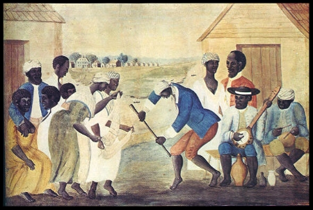 The Old Plantation  by John Rose depicts slaves making music
