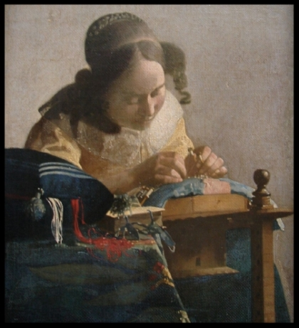 Vermeer's  The Lacemaker  was one of the paintings that inspired Milstein's  Ochre, umber and burnt sienna