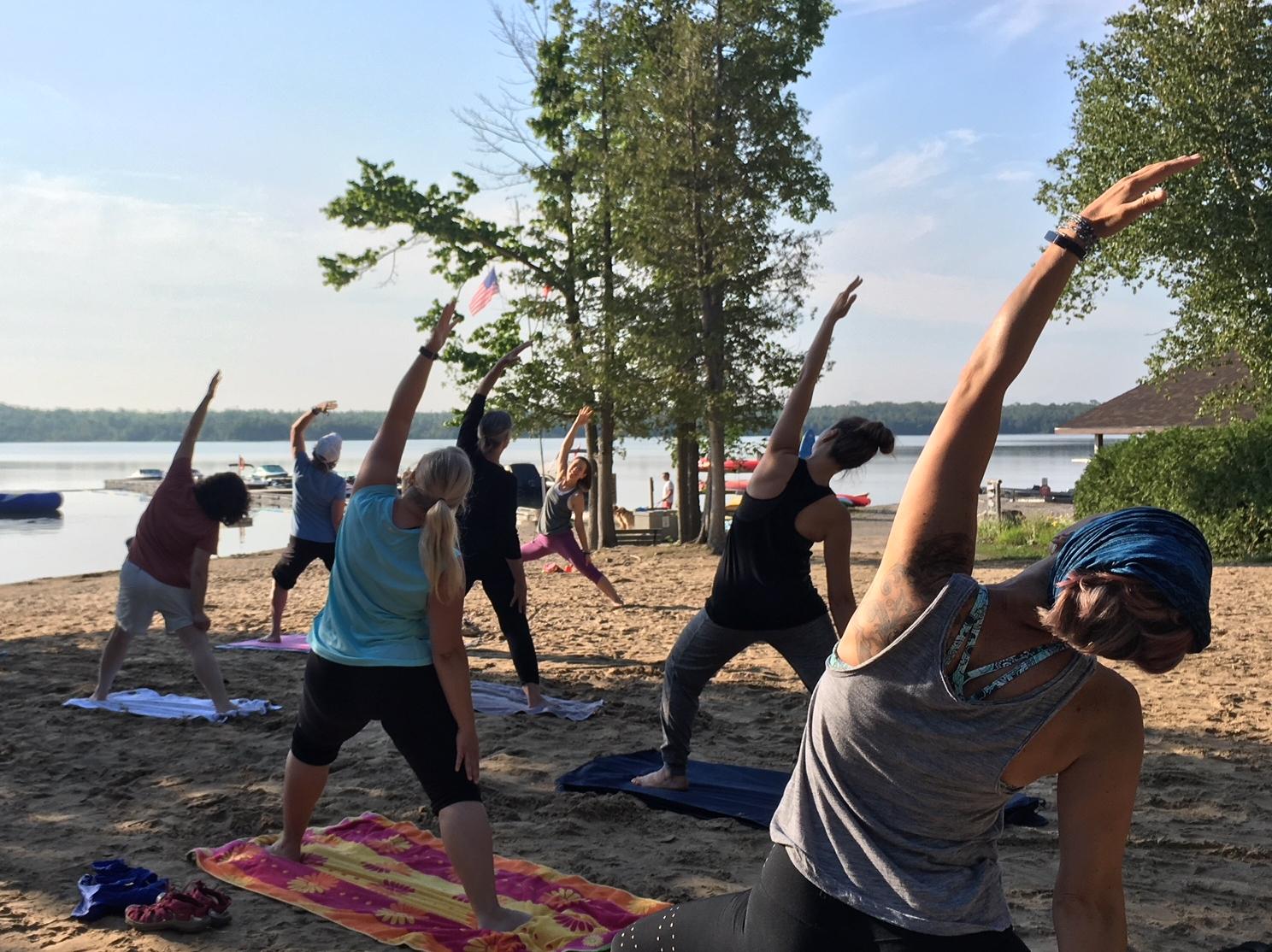 beach yoga at miller lake.JPG