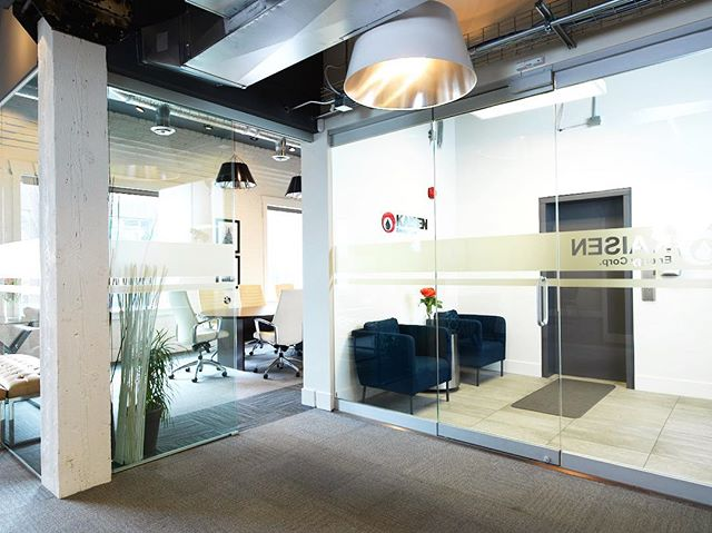 GLASS DIVIDERS || Give your office an open layout feel with glass walls. It provides everyone with the quietness of their own space while giving the office an open collaborative feel.
