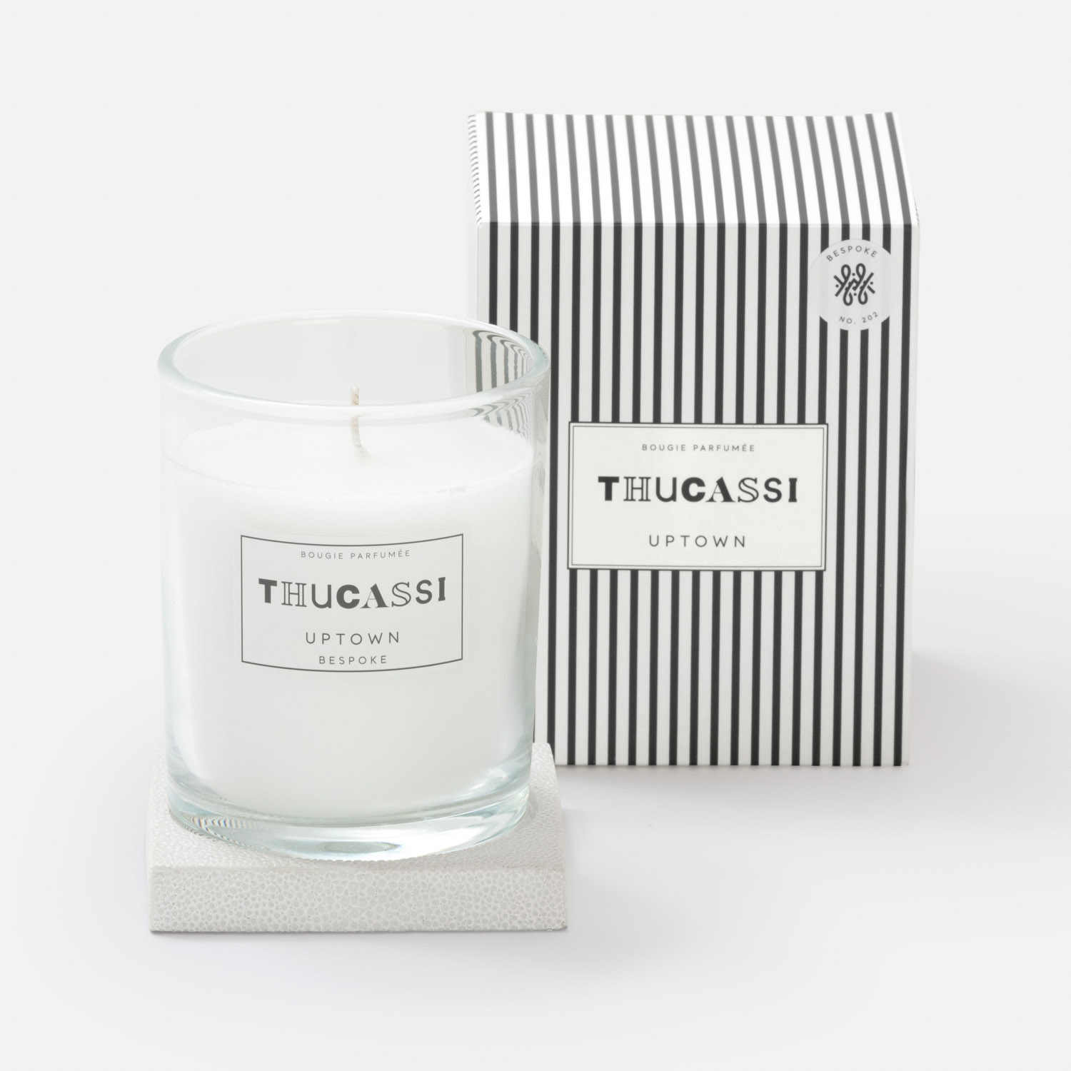 UPTOWN CANDLE WITH TRAY, 8 OZ. / 9.2 FL. OZ.