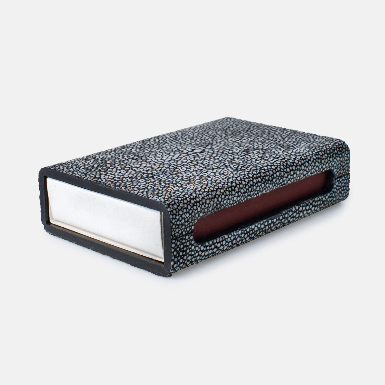 MATCH BOX - COOL GRAY FAUX SHAGREEN