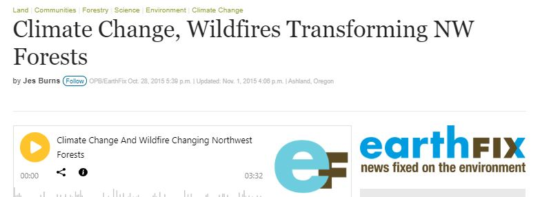 Our NSF grant in the Klamath Mountains featured on OPB radio - Oct 2015