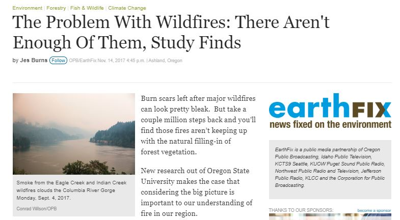 Interviewed by OPB Radio about recent study published by OSU - Nov 2018