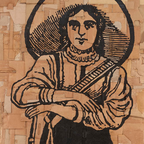 Andrea Bowers,  The Woman Soldier, Mexican Revolution (Illustration by José Guadalupe Posada, 1910-1912) , 2017, acrylic marker on cardboard. Private Collection. Courtesy of Jessica Silverman Gallery.