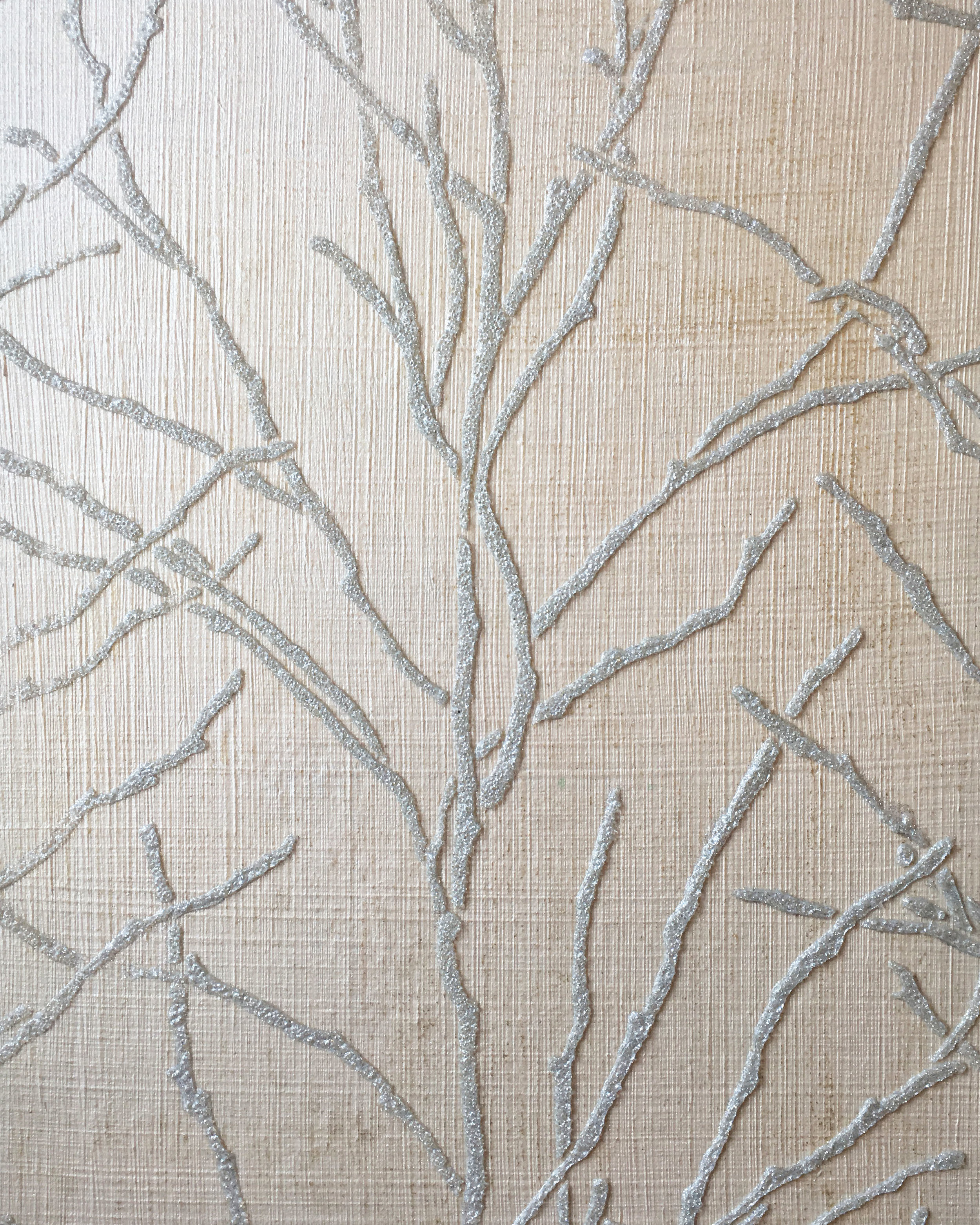 Textured ground with glass beaded stencil
