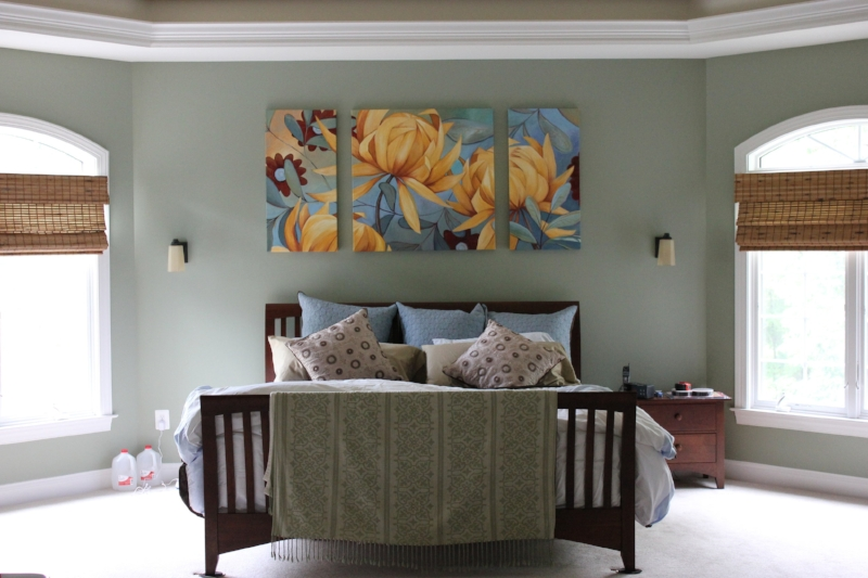 """In the space above, the art is centered between the ceiling and the bed because the ceiling is lower and it would have felt cramped to hang the artwork any lower. Commissioned work, """"Dancing Chrysanthemums"""""""