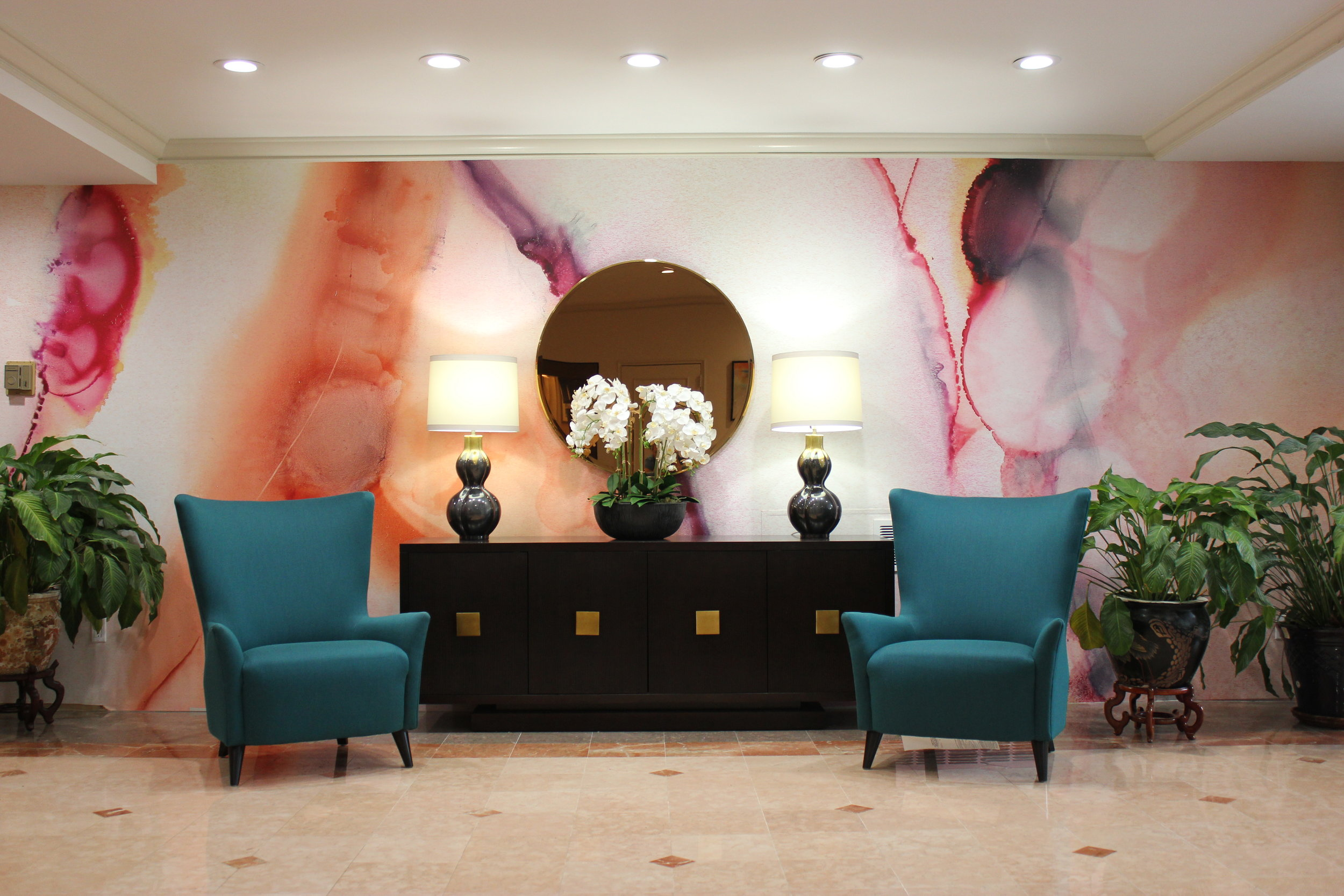 A recent abstract mural installed in a condo lobby in Baltimore for Interior Designer Brian Dermitt. (I had a lot of doubt and trepidation about this one.)