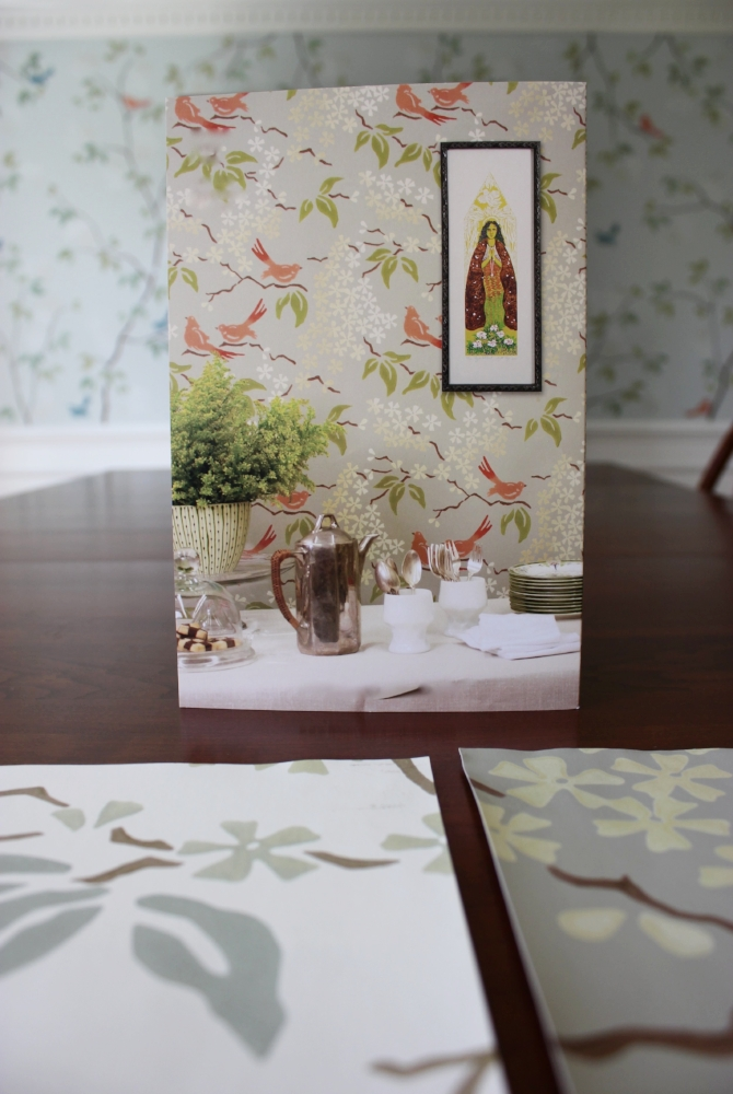 The client liked this wallpaper but the colorway and scale were wrong for her dining room. Interior Designer:  Heidi Dripps