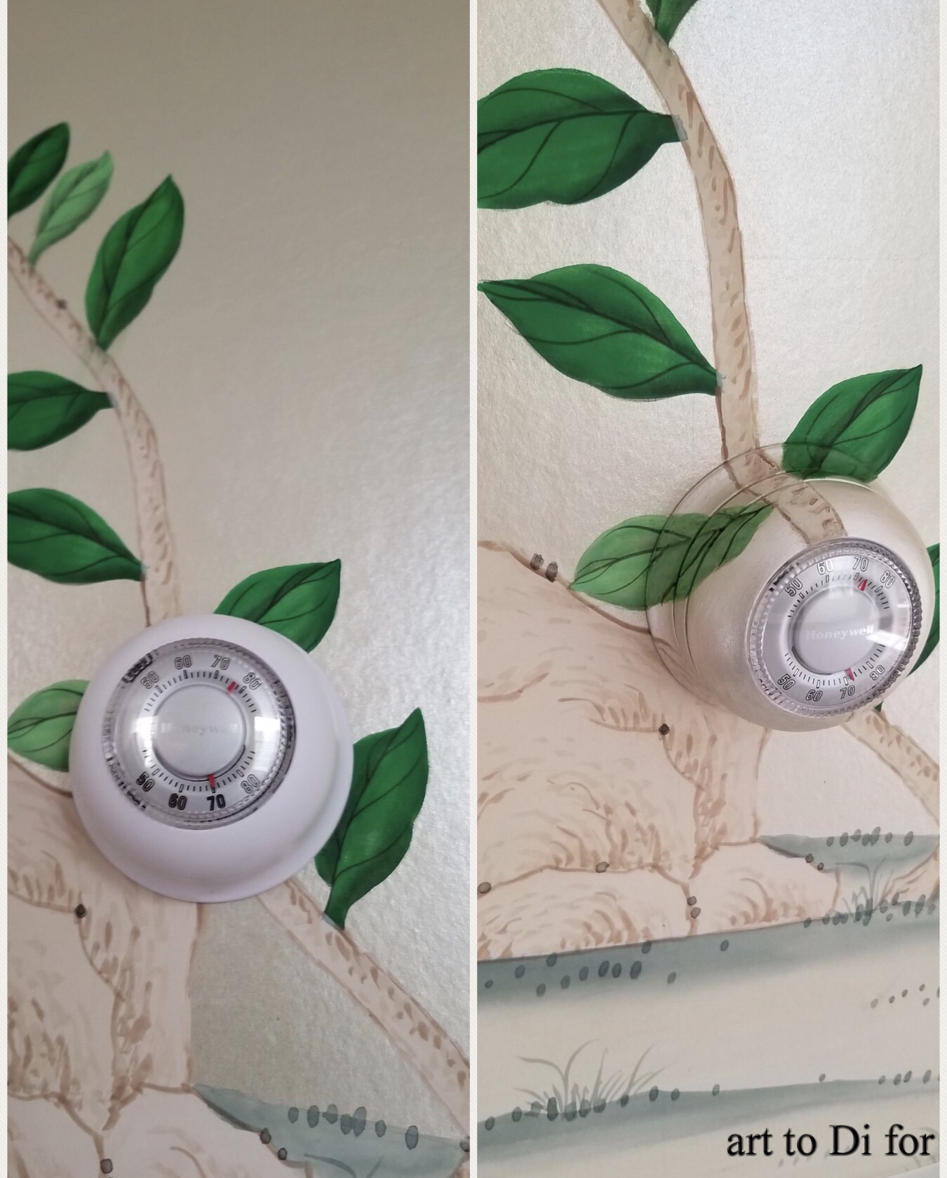 - In our final example, our past president of IDAL, Diane Sink Williams was asked to camouflage a thermostat that interrupted the gorgeous DeGournay wallpaper her client had installed. I think she did a pretty fabulous job given the metallic ground and stylized painting technique in the design!