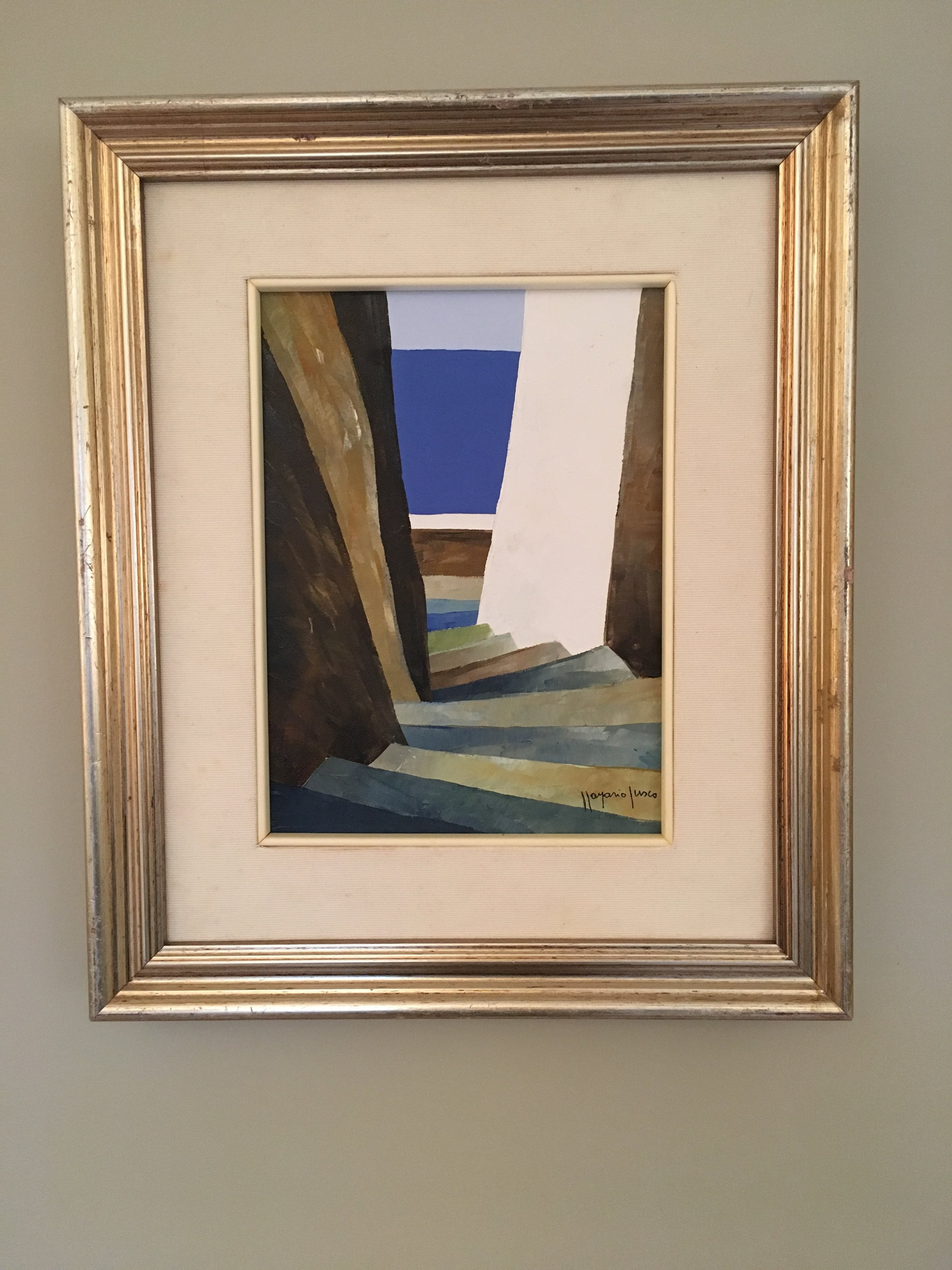 From the couple's collection: an oil painting acquired on a trip to Europe. Love the colors and composition (No pressure!)