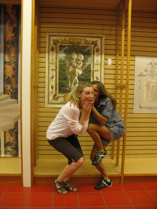 My friend Jeanne and I reinacting a panel by Bonnie LeCat in Atlanta in 2011.