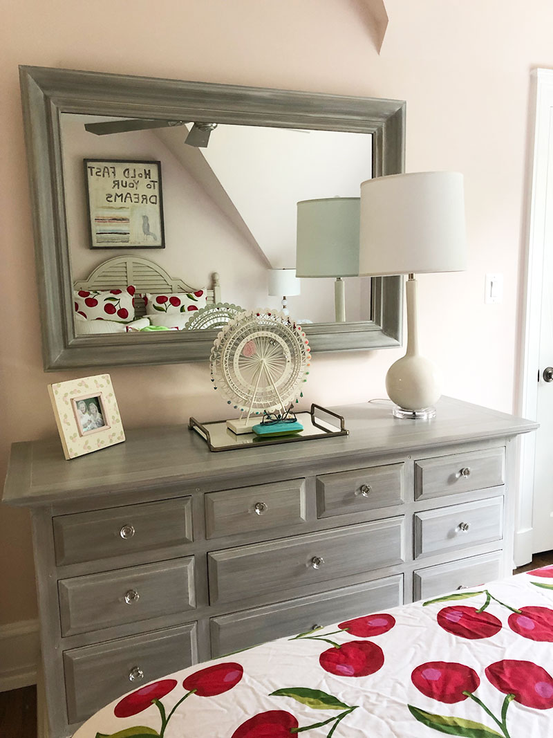 After:   We painted the client's dresser & mirror that she had gotten from her grandmother. We also updated the hardware to give the piece a more modern look.
