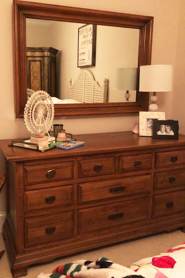 Before:   Wooden dresser & mirror previously owned by our client's grandmother