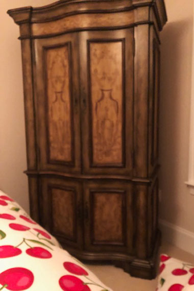 Before:   Second-hand 1990's dark wood armoire