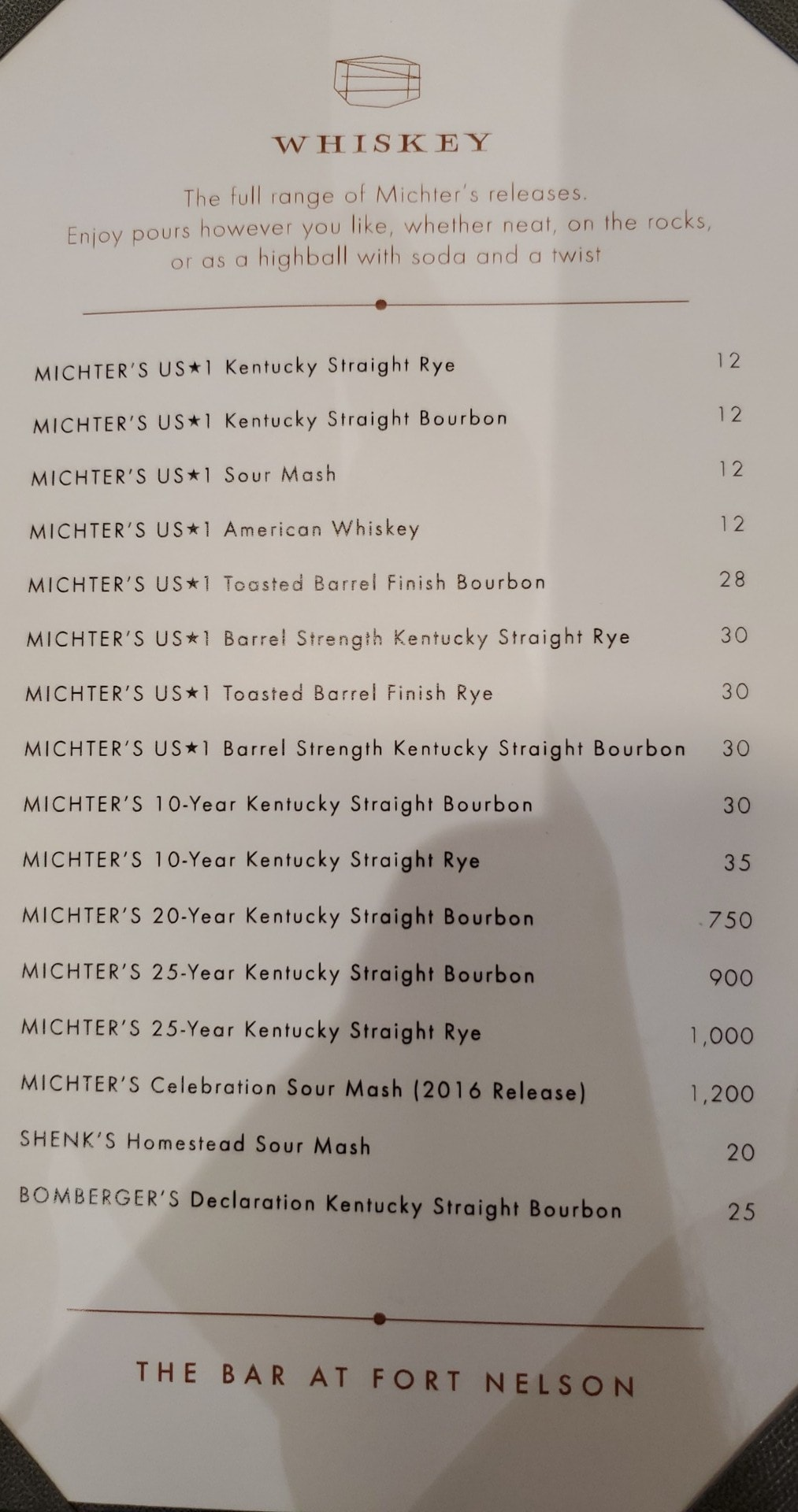 Michter's Garbage Dick Menu