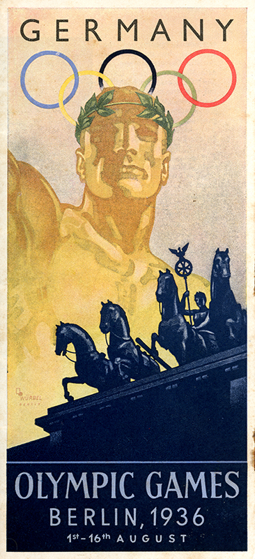 Brochure from 1936 Berlin Olympics featuring a time table and events from the Olympic stadium August 1st – 16th 1936.