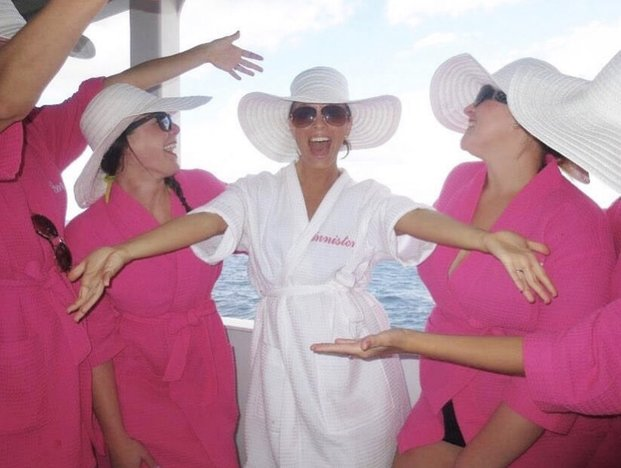 bachelorette party on a cruise boat balcony