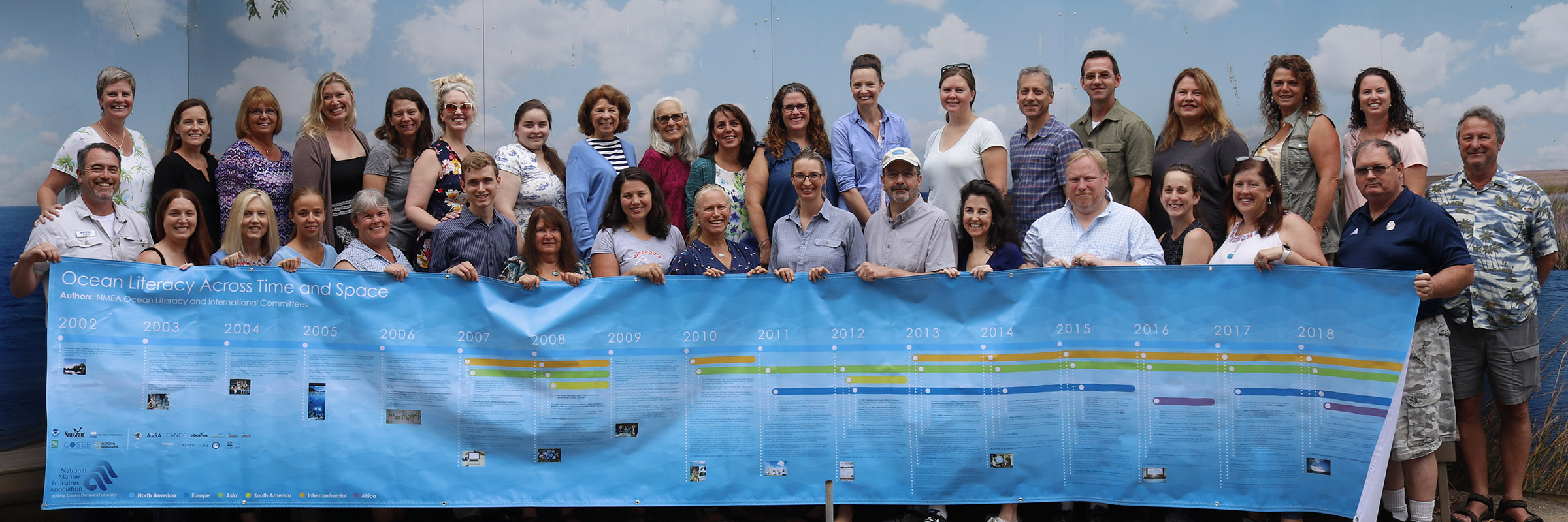 NMEA Board members hold the Timeline banner of key events in the history of the Ocean Literacy Campaign at the 2018 Conference in Long Beach, CA.