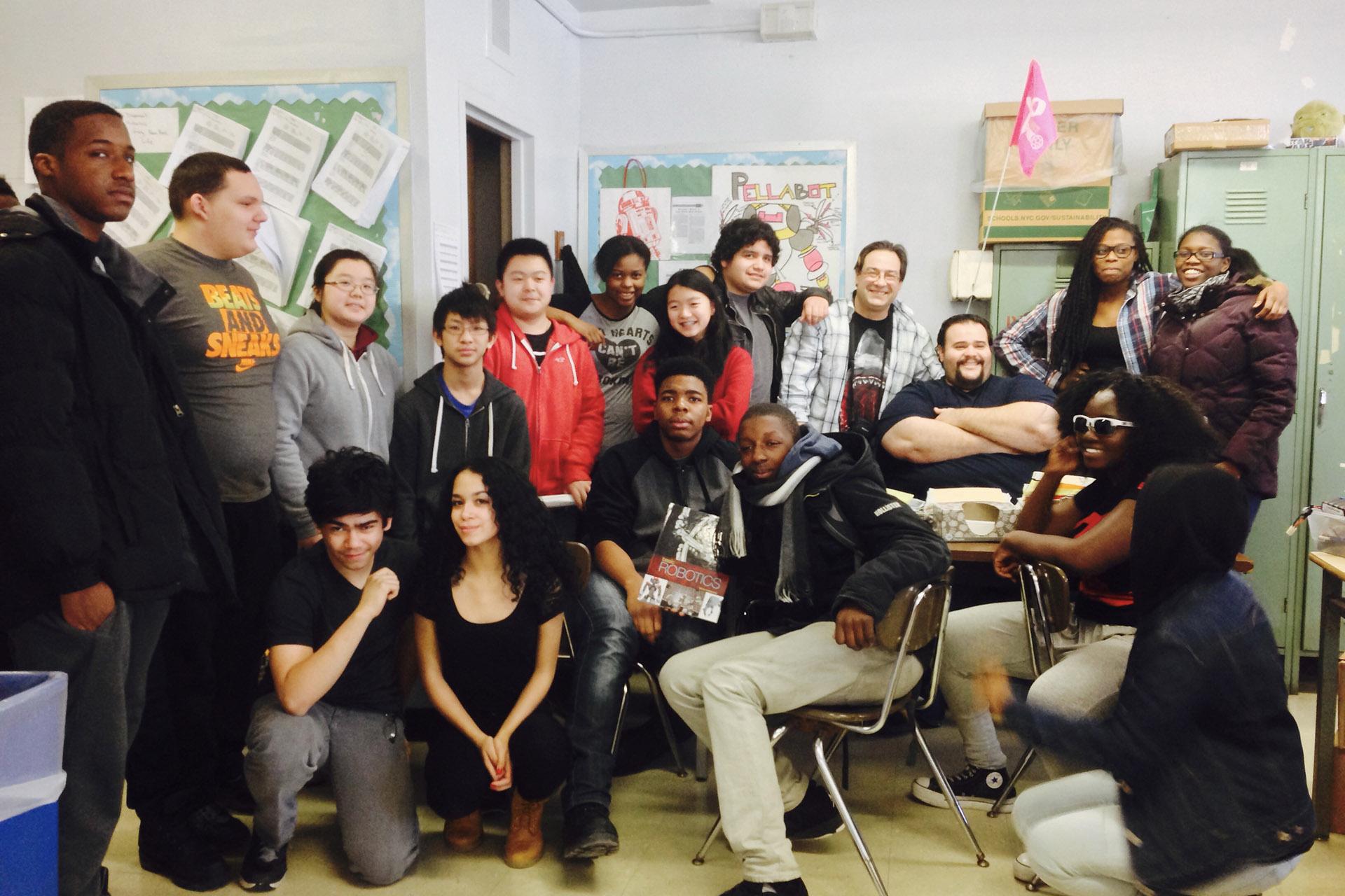 John Dewey High School Underwater Robotics Club meeting, 2015. Coaches Filippo Dispenza and Lane Rosen