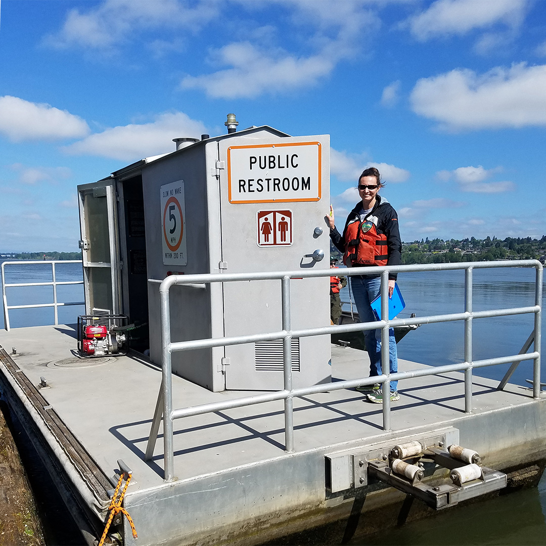 """Floating restrooms are a welcome sight when """"nature calls"""" and they help keep waste out of waterways"""