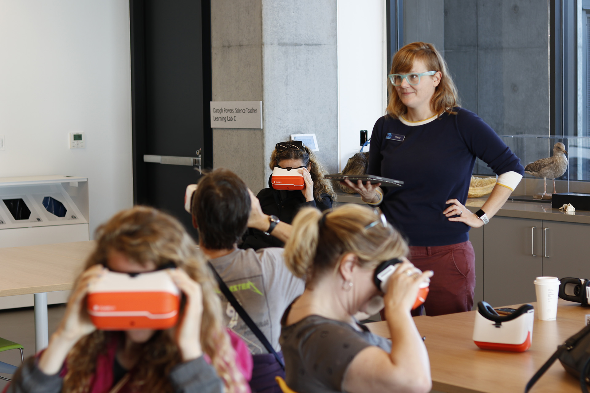 Katy Scott engages teachers in a VR experience at the Bechtel Center