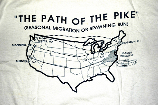 Shirt depicting the migration of the Pike. (Photo: Gene Williamson)