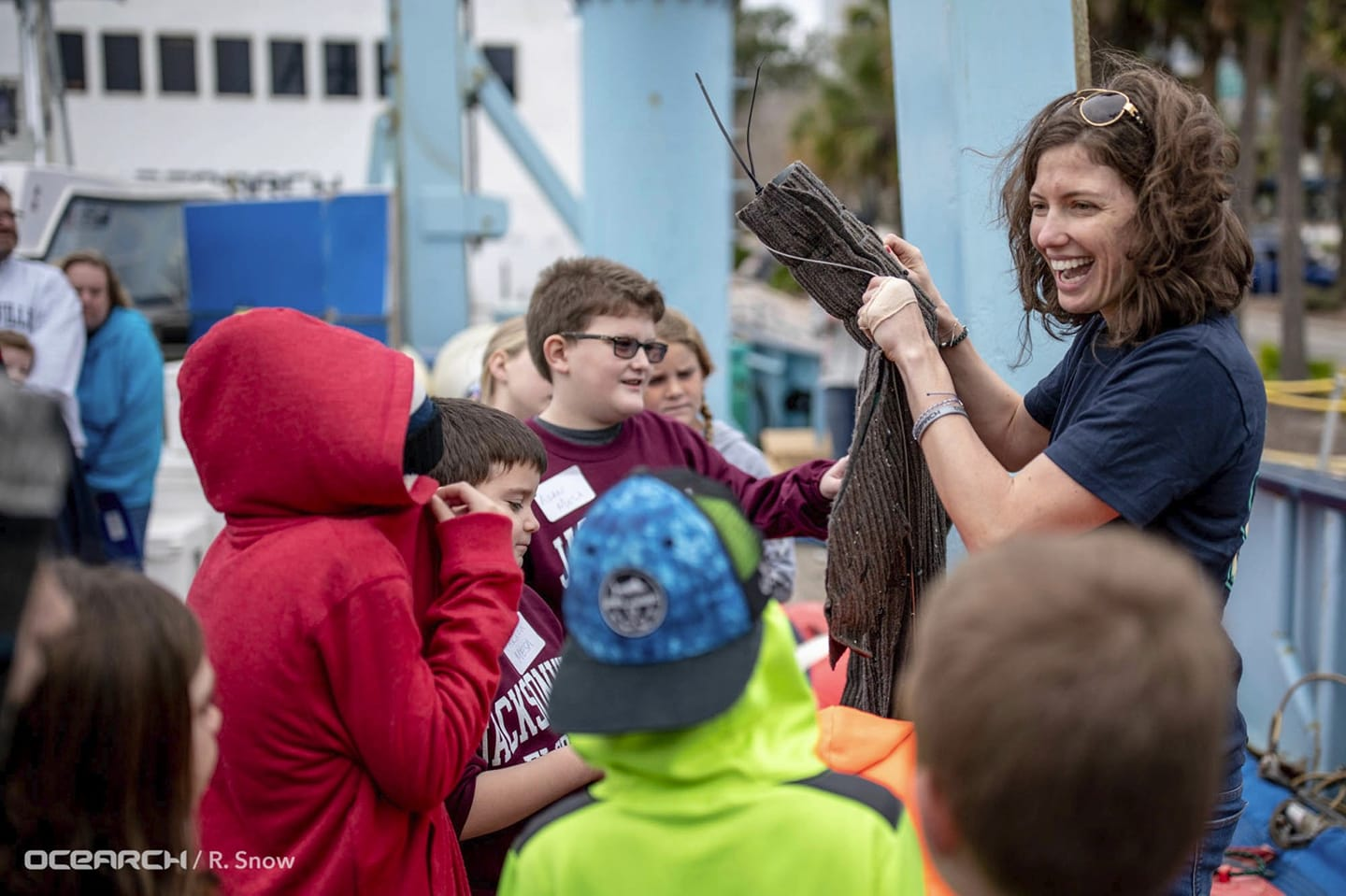 Lindsay engages students at OCEARCH STEM Day Camp on the ship during outreach for  Expedition NASFA