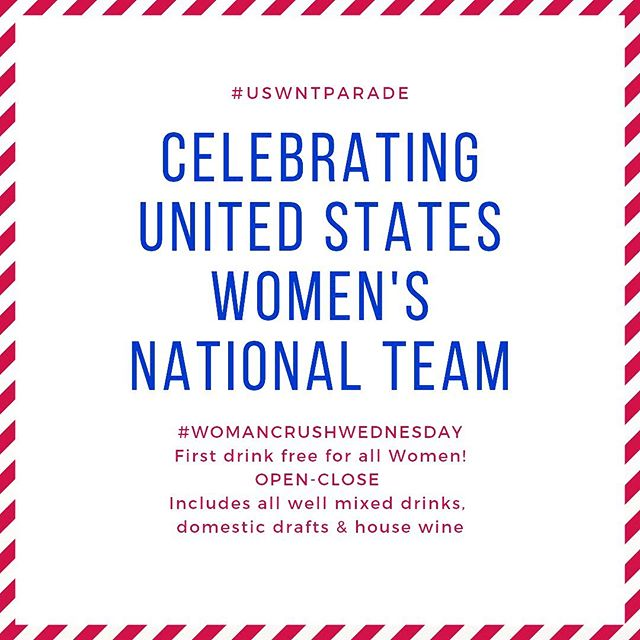 Crushing hard on our #USWNT 😍 Come celebrate #WCW with us by grabbing your girl squad and toast to the USA Women's National Team on 4 straight World Cup wins! 🇺🇸⚽️💙 🏆 Show this post for first drink free from open-close for all women! Includes well mixed drinks, domestic drafts and house wine. 🇺🇸🇺🇸🇺🇸🇺🇸🇺🇸🇺🇸🇺🇸🇺🇸🇺🇸🇺🇸🇺🇸🇺🇸🇺🇸 #wolfknows #womanempowerment #womancrushwednesday #wickedwolf #uswntparade #ladiesnight #usa #hobokennj #hobokengirlblog