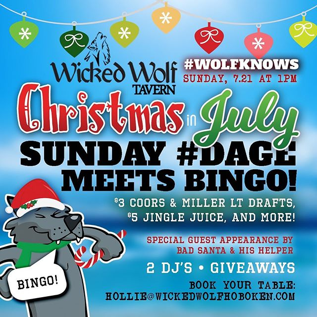 Kicking off Sunday Bingo this weekend for #Wolfknows annual Christmas in July #dage 🍾 Special guest appearance by Bad Santa & his helper. DJs starting at 1pm and all day drink specials! 🎅 🎅🎅🎅🎅🎅🐺🐺🐺🐺🐺🐺🐺 #wolfknows #wickedwolf #christmasinjuly #hobokennj #hobokennightlife #sundayfunday #bingo #badsanta